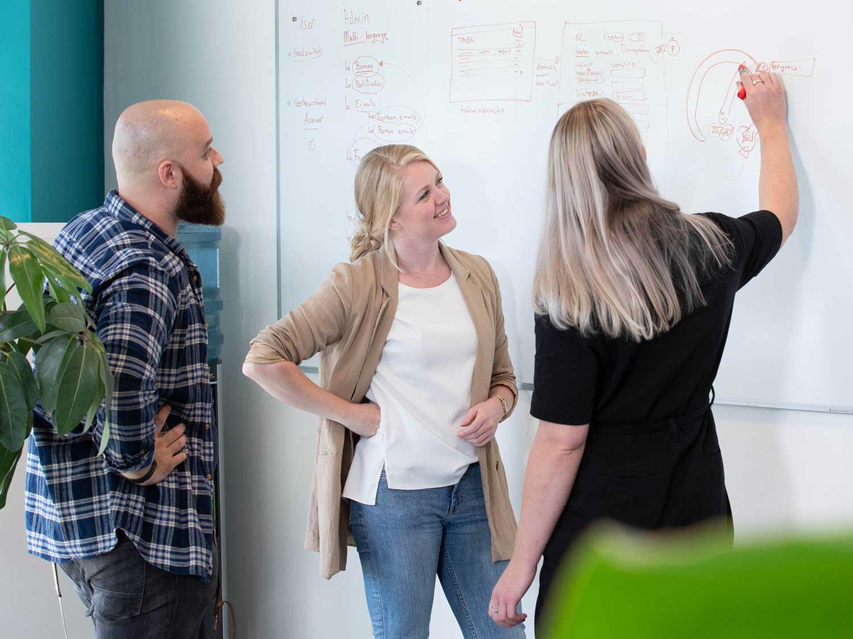Designers bespreken journey map bij whiteboard