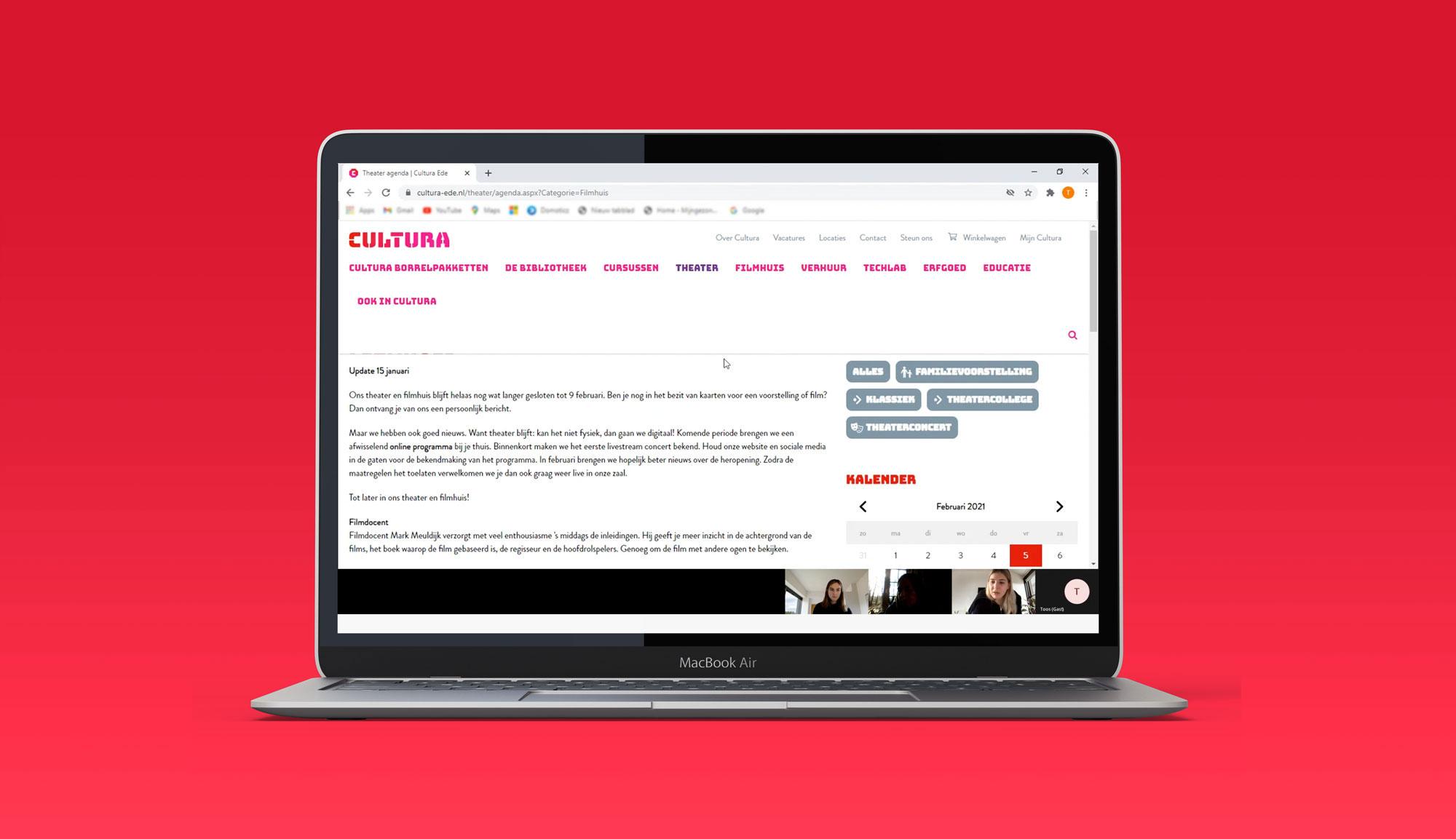 Desktop mockup teams verbinding tijdens gebruikersinterview