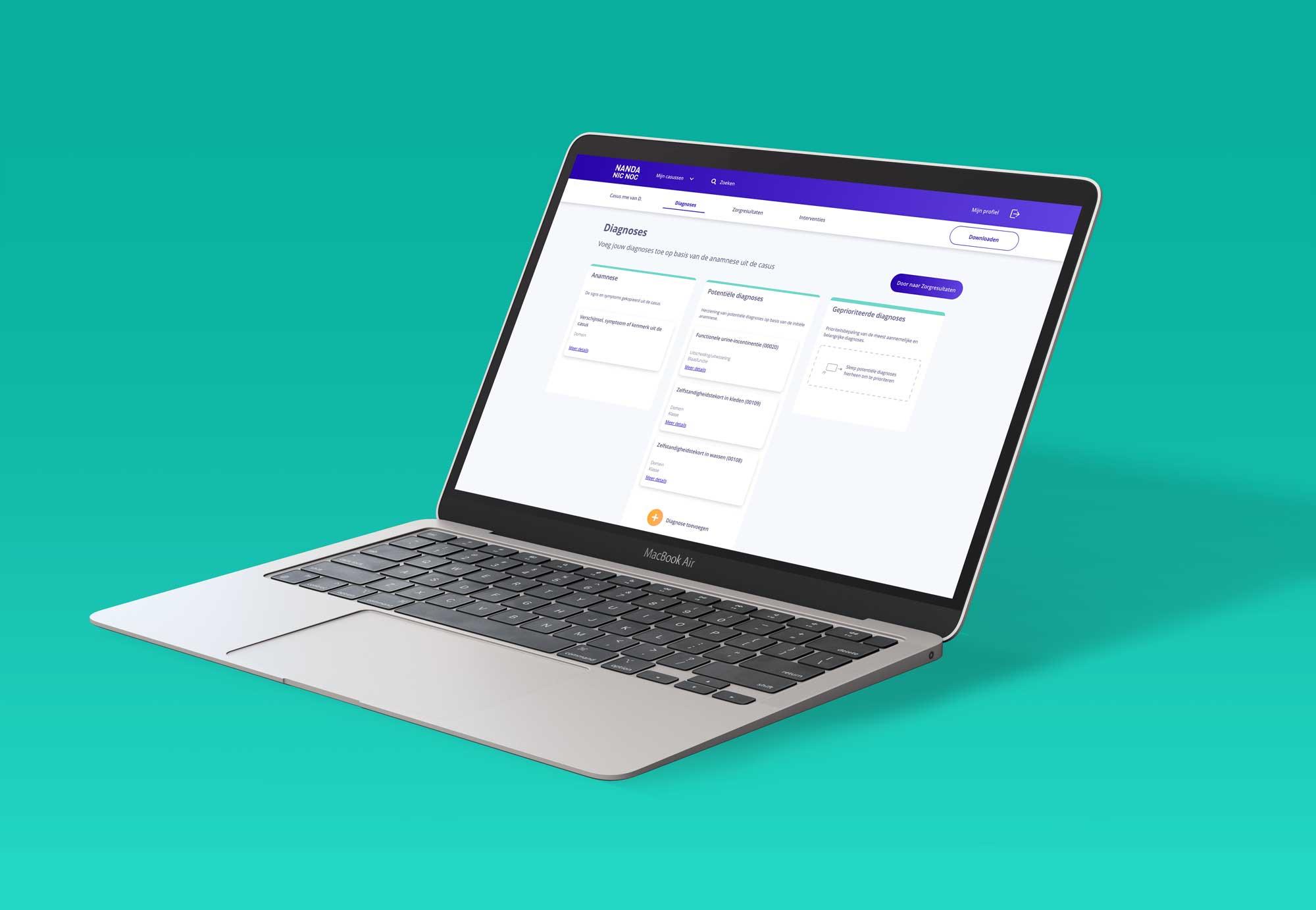 Desktop mock-up studietool applicatie voor verpleegplannen